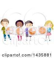 Clipart Of School Children Holding Fraction Pie Charts Royalty Free Vector Illustration