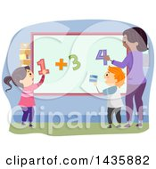 Clipart Of School Children Adding On A Board Royalty Free Vector Illustration
