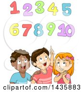 Clipart Of School Children Looking Up At Numbers Royalty Free Vector Illustration
