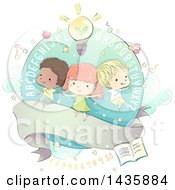 Sketched School Children Over A Ribbon With Alphabet Letters And School Icons