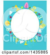Clipart Of A Blank Oval Framed With Numbers And Plants Royalty Free Vector Illustration by BNP Design Studio