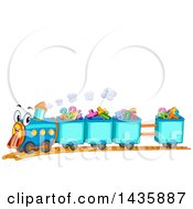 Happy Train With Cars Full Of Numbers And Math Symbols