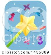 Clipart Of A Star Magic Wand With Numbers And Math Symbols Royalty Free Vector Illustration