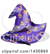 Clipart Of A Magic Wand And Wizard Hat With Match Numbers And Symbols Royalty Free Vector Illustration by BNP Design Studio