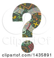 Clipart Of A Math Patterned Question Mark Royalty Free Vector Illustration