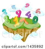 Floating Island With Numbers And Clouds