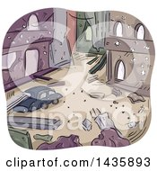 Clipart Of A Sketched City In Ruins After A War Royalty Free Vector Illustration