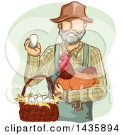 Clipart Of A Sketched White Male Farmer In Overalls Holding A Chicken And Egg By A Basket Royalty Free Vector Illustration by BNP Design Studio