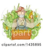 Sketched White Male Farmer In Overalls Holding Corn Over A Box