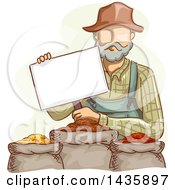 Sketched White Male Farmer In Overalls Holding A Sign Over Grains