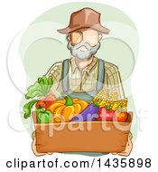 Clipart Of A Sketched White Male Farmer In Overalls Carrying A Box Of Produce Royalty Free Vector Illustration