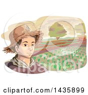 Clipart Of A Sketched Male Farmer Wearing A Straw Hat Against A Rice Field Royalty Free Vector Illustration