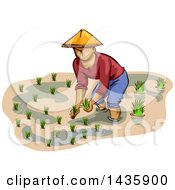 Clipart Of A Sketched Male Farmer In A Conical Hat Planting Rice Royalty Free Vector Illustration