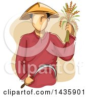 Clipart Of A Sketched Male Farmer Wearing A Conical Hat Holding Rice And A Sickle Royalty Free Vector Illustration