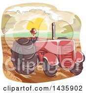 Clipart Of A Sketched Male Farmer Operating A Tractor Royalty Free Vector Illustration