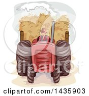 Poster, Art Print Of Sketched Male Farmer Pulling Hay With A Tractor