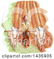 Clipart Of A Sketched Male Farmer Plowing A Field With Water Buffalos Royalty Free Vector Illustration by BNP Design Studio