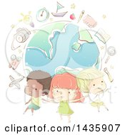 Clipart Of Sketched School Children Over A Globe With School Icons Royalty Free Vector Illustration