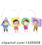 Clipart Of A Row Of School Children Wearing Shapes Royalty Free Vector Illustration