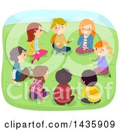 Clipart Of School Children Sitting In A Cricle And Talking In A Park Royalty Free Vector Illustration by BNP Design Studio