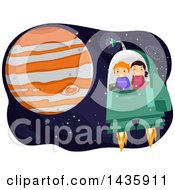 Clipart Of School Children Flying A Spaceship Near Planet Jupiter Royalty Free Vector Illustration by BNP Design Studio