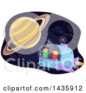 Clipart Of School Children Flying A Spaceship Near Planet Saturn Royalty Free Vector Illustration