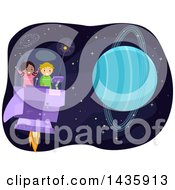 Clipart Of School Children Flying A Spaceship Near Planet Uranus Royalty Free Vector Illustration by BNP Design Studio