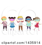 Clipart Of School Children Wearing Blindfolds Royalty Free Vector Illustration
