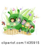 Clipart Of School Children Riding A Caterpillar Bus Royalty Free Vector Illustration by BNP Design Studio