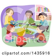 Clipart Of School Children And A Teacher Learning About Water Flow And Erosion Royalty Free Vector Illustration by BNP Design Studio