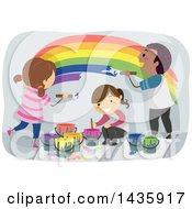 Clipart Of School Children Painting A Rainbow Royalty Free Vector Illustration