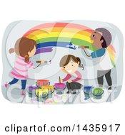 Poster, Art Print Of School Children Painting A Rainbow