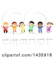 Clipart Of School Children Holding Hands And Jumping Royalty Free Vector Illustration by BNP Design Studio