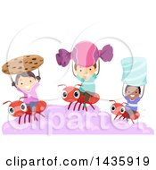 Clipart Of School Children Holding Up Sweets And Riding On Ants Royalty Free Vector Illustration by BNP Design Studio