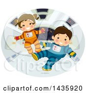 Clipart Of Astronaut School Children Floating In Zero Gravity Royalty Free Vector Illustration by BNP Design Studio
