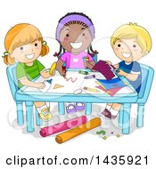 Clipart Of School Children Doing Arts And Crafts Royalty Free Vector Illustration