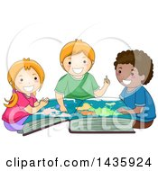 Clipart Of School Children Studying A World Map In A Book Royalty Free Vector Illustration
