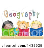 Clipart Of School Children Reading Geography Books Royalty Free Vector Illustration
