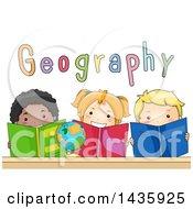 Poster, Art Print Of School Children Reading Geography Books