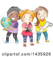 Poster, Art Print Of School Children With A Globe Binoculars And Map