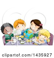 Clipart Of School Children Studying In Geography Class Royalty Free Vector Illustration
