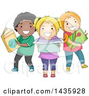 Clipart Of School Children With Geographical References Royalty Free Vector Illustration