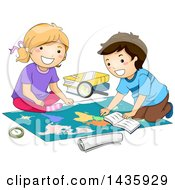 Clipart Of School Children Studying A Map Royalty Free Vector Illustration
