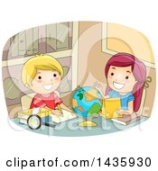 Clipart Of School Children Studying A Desk Globe Royalty Free Vector Illustration