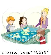 Poster, Art Print Of School Children And Teacher Studying An Interactive Table Map