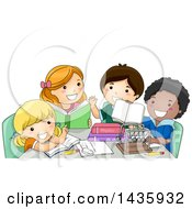 Clipart Of School Children Studying Physics Royalty Free Vector Illustration
