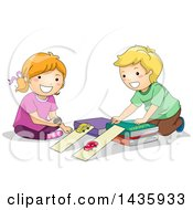 Clipart Of School Children Studying Physics Acceleration With Cars Royalty Free Vector Illustration