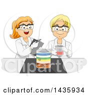 Clipart Of School Children Studying Physics Density With Liquids Royalty Free Vector Illustration