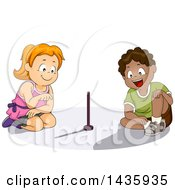 Clipart Of School Children Studying A Sun Dial Royalty Free Vector Illustration
