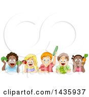 Clipart Of School Children Holding Produce Under Text Space Royalty Free Vector Illustration